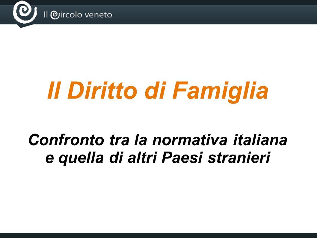 Il Diritto di Famiglia Confronto tra la normativa italiana e quella di altri Paesi stranieri