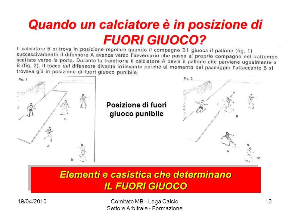 19/04/2010Comitato MB - Lega Calcio Settore Arbitrale - Formazione 13 Quando un calciatore è in posizione di FUORI GIUOCO? Posizione di fuori giuoco p