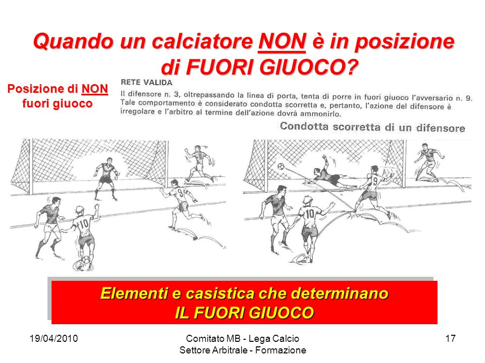 19/04/2010Comitato MB - Lega Calcio Settore Arbitrale - Formazione 17 Quando un calciatore NON è in posizione di FUORI GIUOCO? Posizione di NON fuori