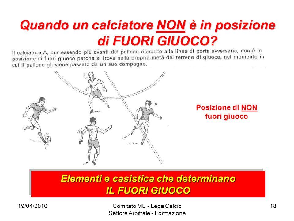 19/04/2010Comitato MB - Lega Calcio Settore Arbitrale - Formazione 18 Quando un calciatore NON è in posizione di FUORI GIUOCO? Posizione di NON fuori