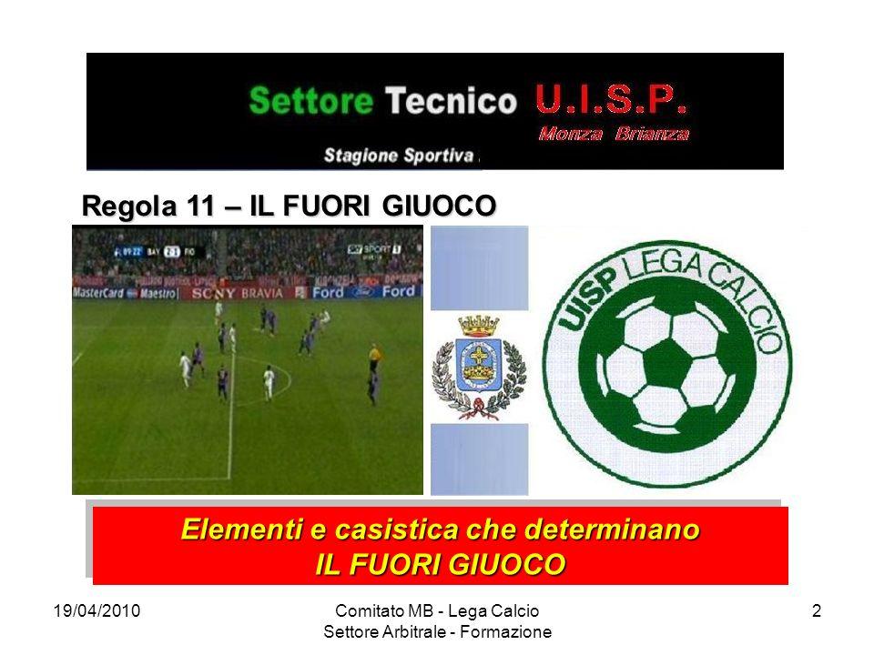 19/04/2010Comitato MB - Lega Calcio Settore Arbitrale - Formazione 2 Regola 11 – IL FUORI GIUOCO Elementi e casistica che determinano IL FUORI GIUOCO