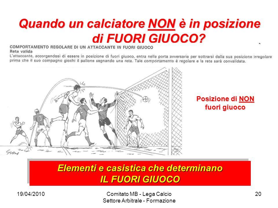 19/04/2010Comitato MB - Lega Calcio Settore Arbitrale - Formazione 20 Quando un calciatore NON è in posizione di FUORI GIUOCO? Posizione di NON fuori