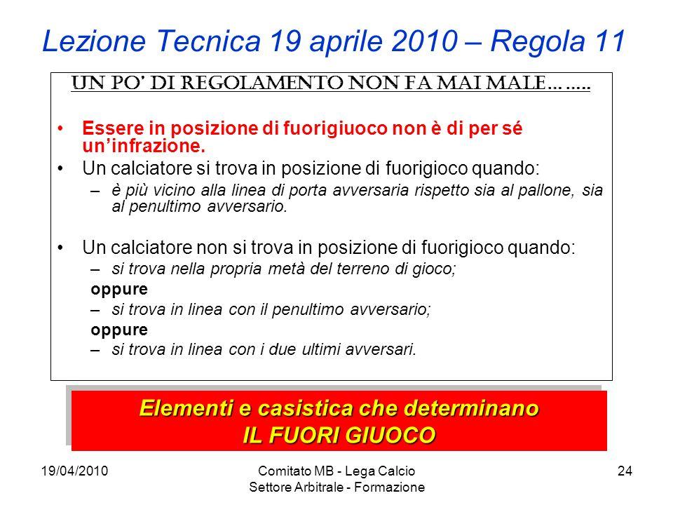 19/04/2010Comitato MB - Lega Calcio Settore Arbitrale - Formazione 24 Lezione Tecnica 19 aprile 2010 – Regola 11 Un po di regolamento non fa mai male…