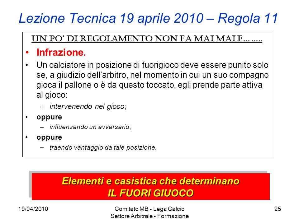 19/04/2010Comitato MB - Lega Calcio Settore Arbitrale - Formazione 25 Lezione Tecnica 19 aprile 2010 – Regola 11 Un po di regolamento non fa mai male…
