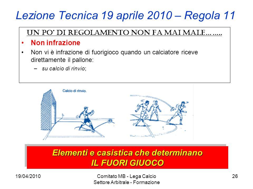 19/04/2010Comitato MB - Lega Calcio Settore Arbitrale - Formazione 26 Lezione Tecnica 19 aprile 2010 – Regola 11 Un po di regolamento non fa mai male…
