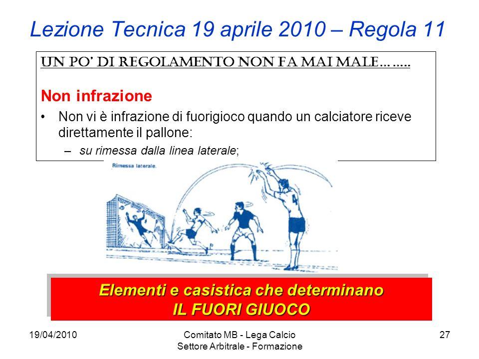 19/04/2010Comitato MB - Lega Calcio Settore Arbitrale - Formazione 27 Lezione Tecnica 19 aprile 2010 – Regola 11 Un po di regolamento non fa mai male…