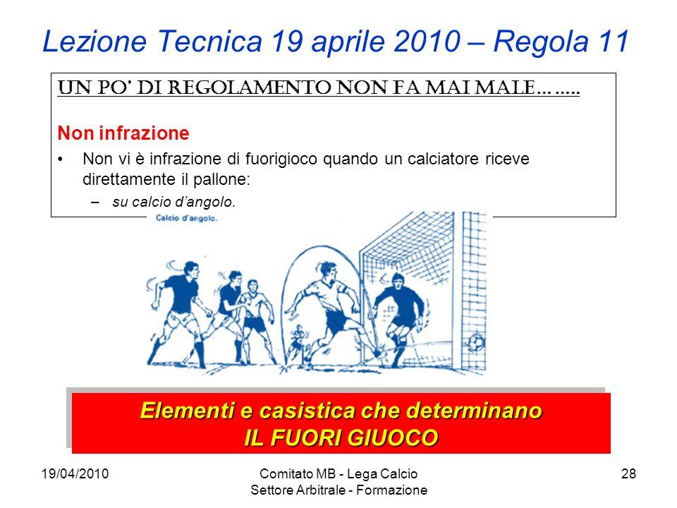 19/04/2010Comitato MB - Lega Calcio Settore Arbitrale - Formazione 28 Lezione Tecnica 19 aprile 2010 – Regola 11 Un po di regolamento non fa mai male…