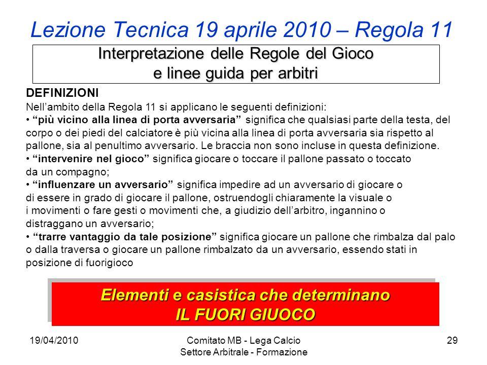 19/04/2010Comitato MB - Lega Calcio Settore Arbitrale - Formazione 29 Lezione Tecnica 19 aprile 2010 – Regola 11 Interpretazione delle Regole del Gioc