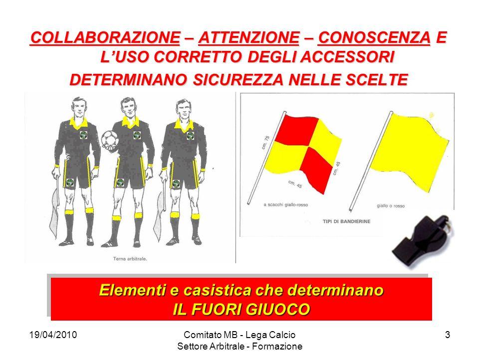 19/04/2010Comitato MB - Lega Calcio Settore Arbitrale - Formazione 3 COLLABORAZIONE – ATTENZIONE – CONOSCENZA E LUSO CORRETTO DEGLI ACCESSORI DETERMIN