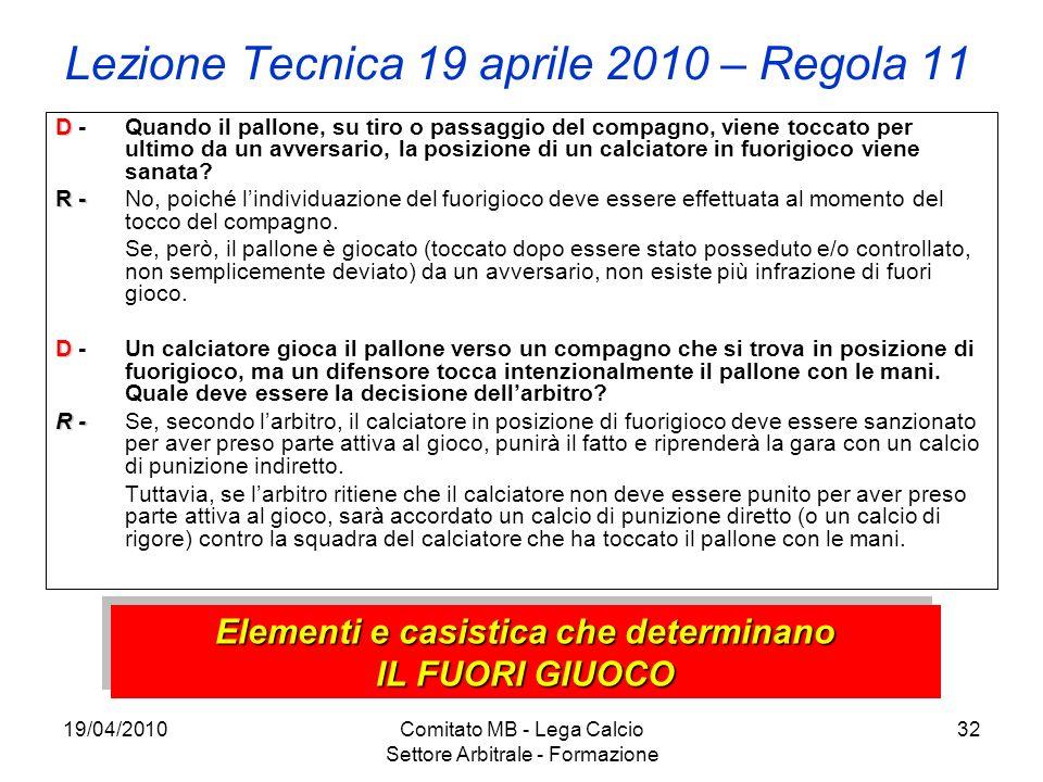 19/04/2010Comitato MB - Lega Calcio Settore Arbitrale - Formazione 32 Lezione Tecnica 19 aprile 2010 – Regola 11 D D - Quando il pallone, su tiro o pa