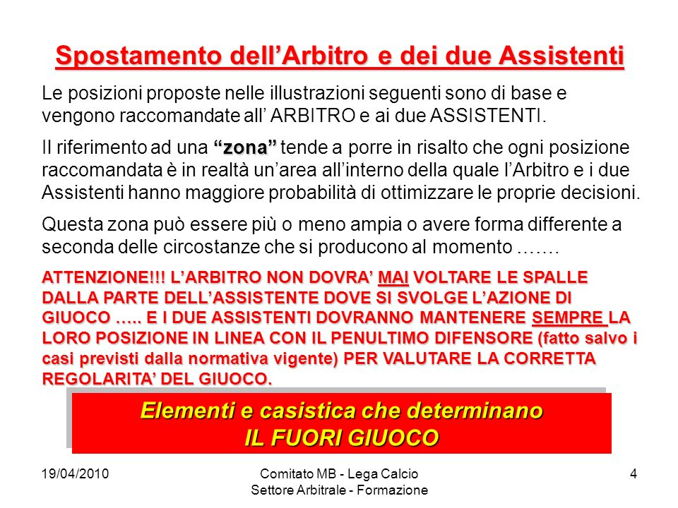 19/04/2010Comitato MB - Lega Calcio Settore Arbitrale - Formazione 4 Spostamento dellArbitro e dei due Assistenti Le posizioni proposte nelle illustra