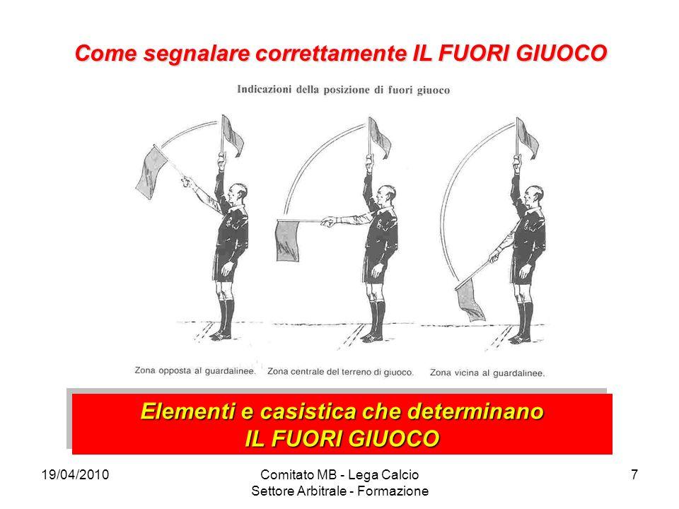 19/04/2010Comitato MB - Lega Calcio Settore Arbitrale - Formazione 7 Come segnalare correttamente IL FUORI GIUOCO Elementi e casistica che determinano