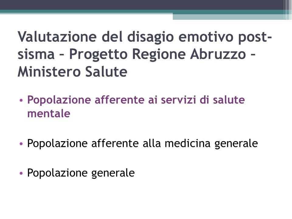 Valutazione del disagio emotivo post- sisma – Progetto Regione Abruzzo – Ministero Salute Popolazione afferente ai servizi di salute mentale Popolazione afferente alla medicina generale Popolazione generale