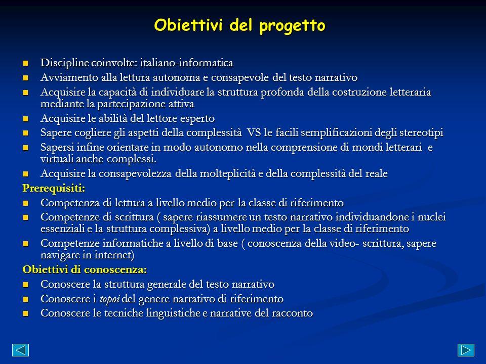 Obiettivi del progetto Discipline coinvolte: italiano-informatica Discipline coinvolte: italiano-informatica Avviamento alla lettura autonoma e consap