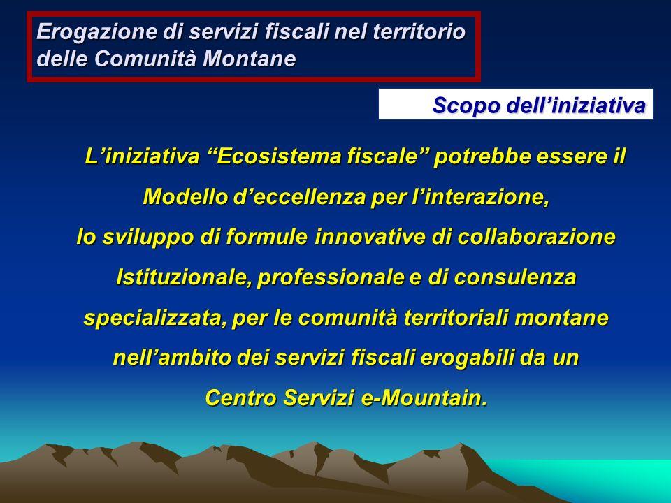 Scopo delliniziativa Liniziativa Ecosistema fiscale potrebbe essere il Modello deccellenza per linterazione, Liniziativa Ecosistema fiscale potrebbe e
