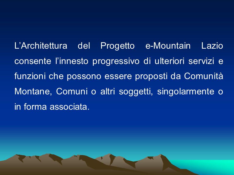 LArchitettura del Progetto e-Mountain Lazio consente linnesto progressivo di ulteriori servizi e funzioni che possono essere proposti da Comunità Mont