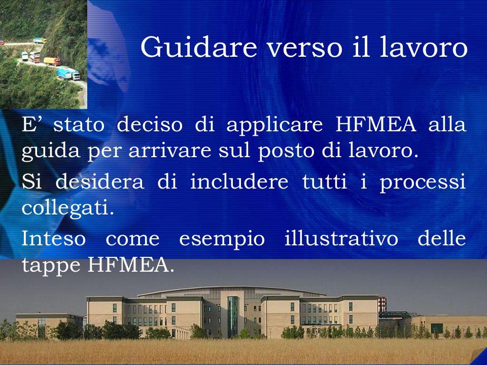 2 E stato deciso di applicare HFMEA alla guida per arrivare sul posto di lavoro. Si desidera di includere tutti i processi collegati. Inteso come esem