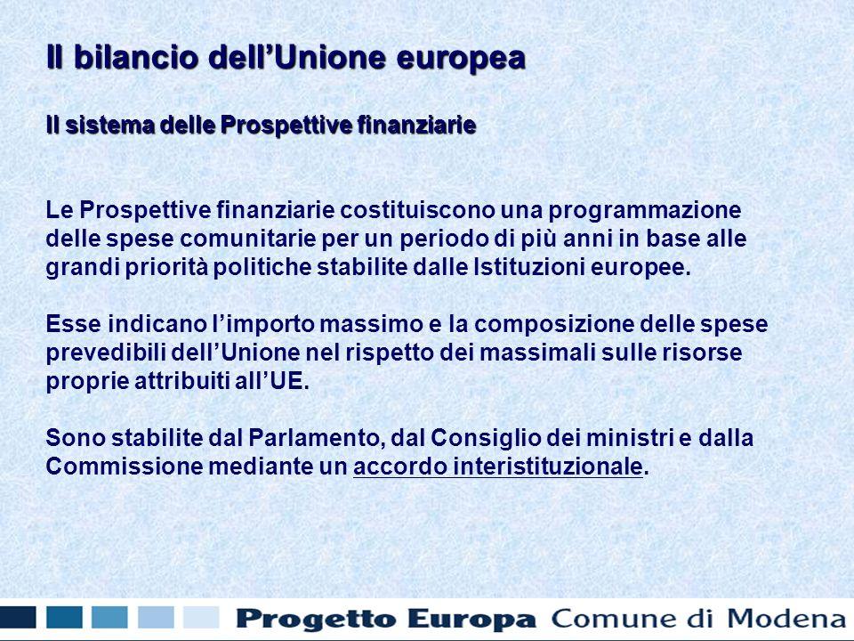 Il sistema delle Prospettive finanziarie Le Prospettive finanziarie costituiscono una programmazione delle spese comunitarie per un periodo di più anni in base alle grandi priorità politiche stabilite dalle Istituzioni europee.