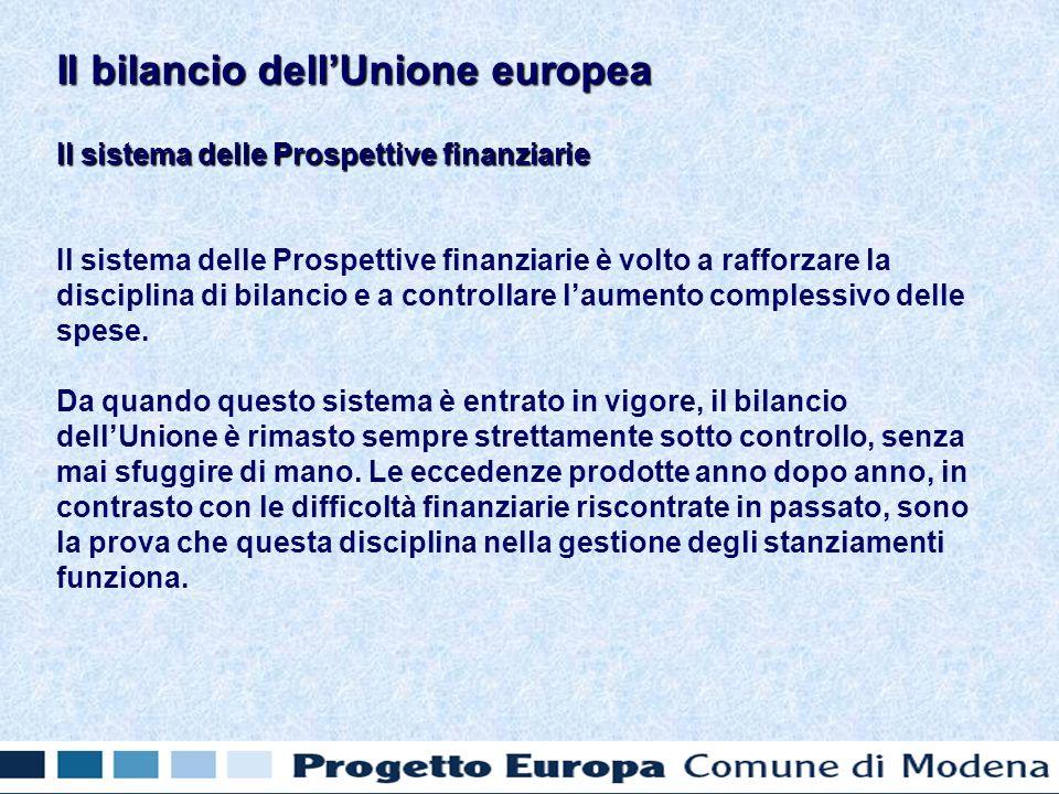 Il sistema delle Prospettive finanziarie Il sistema delle Prospettive finanziarie è volto a rafforzare la disciplina di bilancio e a controllare laumento complessivo delle spese.