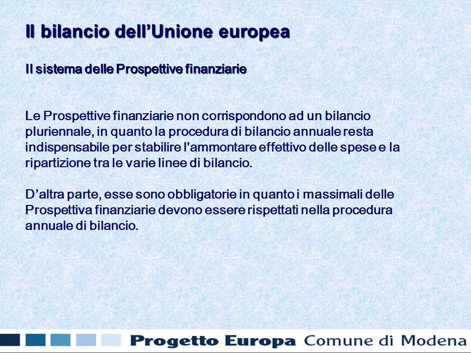 Il sistema delle Prospettive finanziarie Le Prospettive finanziarie non corrispondono ad un bilancio pluriennale, in quanto la procedura di bilancio annuale resta indispensabile per stabilire l ammontare effettivo delle spese e la ripartizione tra le varie linee di bilancio.