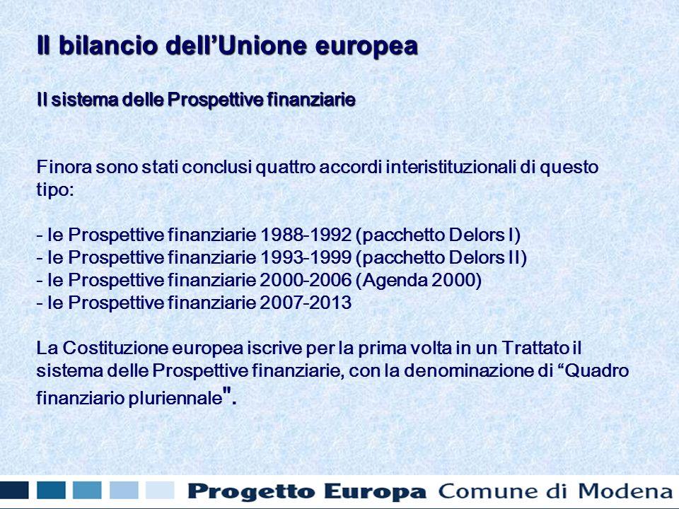 Il sistema delle Prospettive finanziarie Finora sono stati conclusi quattro accordi interistituzionali di questo tipo: - le Prospettive finanziarie 1988-1992 (pacchetto Delors I) - le Prospettive finanziarie 1993-1999 (pacchetto Delors II) - le Prospettive finanziarie 2000-2006 (Agenda 2000) - le Prospettive finanziarie 2007-2013 La Costituzione europea iscrive per la prima volta in un Trattato il sistema delle Prospettive finanziarie, con la denominazione di Quadro finanziario pluriennale .