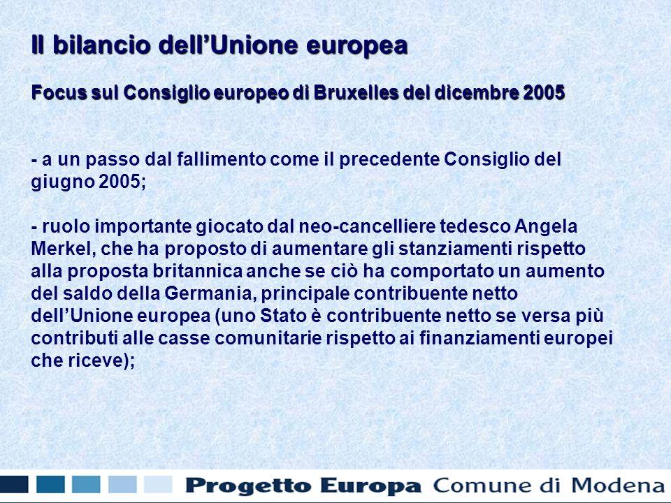 Focus sul Consiglio europeo di Bruxelles del dicembre 2005 - a un passo dal fallimento come il precedente Consiglio del giugno 2005; - ruolo importante giocato dal neo-cancelliere tedesco Angela Merkel, che ha proposto di aumentare gli stanziamenti rispetto alla proposta britannica anche se ciò ha comportato un aumento del saldo della Germania, principale contribuente netto dellUnione europea (uno Stato è contribuente netto se versa più contributi alle casse comunitarie rispetto ai finanziamenti europei che riceve); Il bilancio dellUnione europea