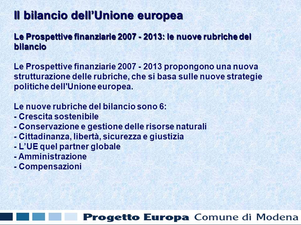 Le Prospettive finanziarie 2007 - 2013: le nuove rubriche del bilancio Le Prospettive finanziarie 2007 - 2013 propongono una nuova strutturazione delle rubriche, che si basa sulle nuove strategie politiche dell Unione europea.