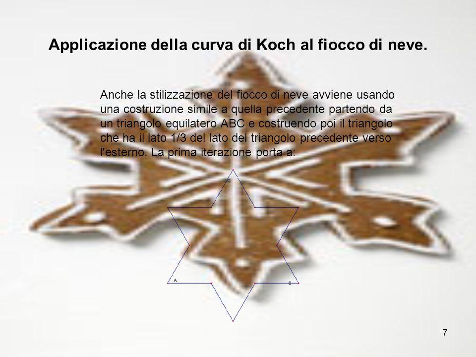 7 Applicazione della curva di Koch al fiocco di neve. Anche la stilizzazione del fiocco di neve avviene usando una costruzione simile a quella precede