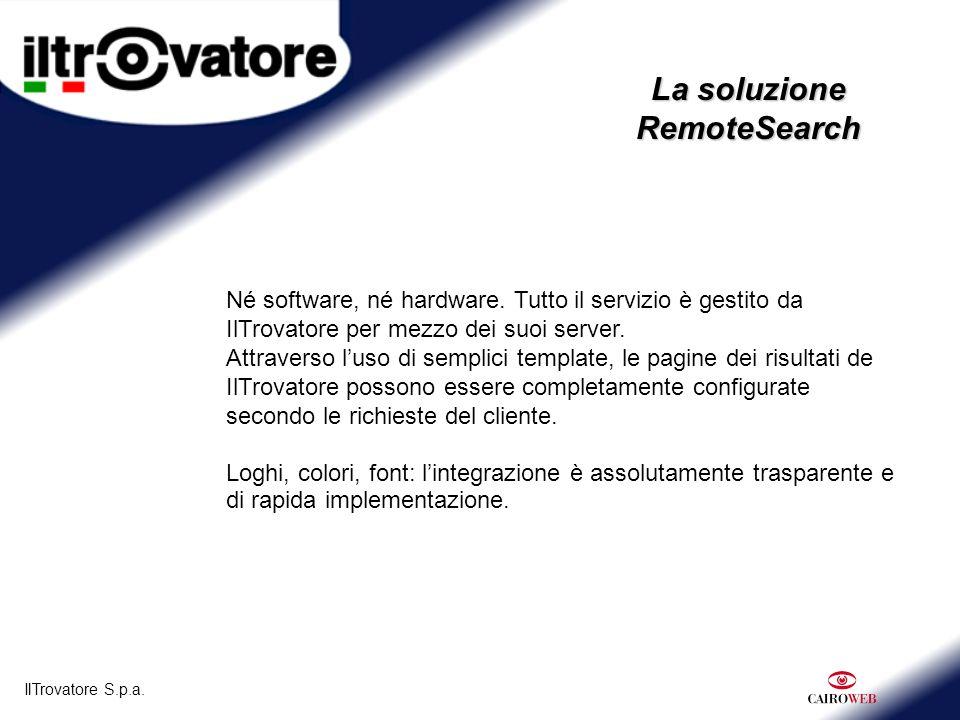 IlTrovatore S.p.a. La soluzione RemoteSearch Né software, né hardware.