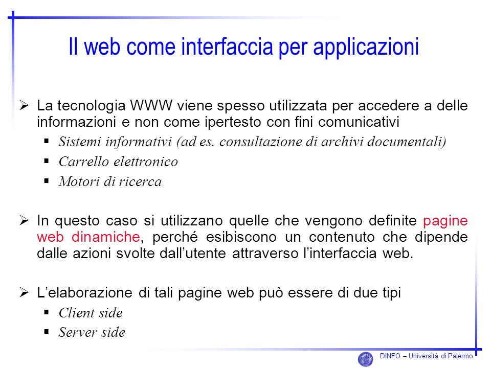 DINFO – Università di Palermo Il web come interfaccia per applicazioni La tecnologia WWW viene spesso utilizzata per accedere a delle informazioni e n