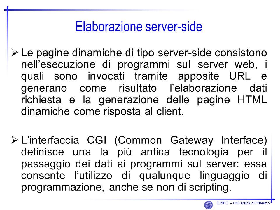 DINFO – Università di Palermo Elaborazione server-side Le pagine dinamiche di tipo server-side consistono nellesecuzione di programmi sul server web,