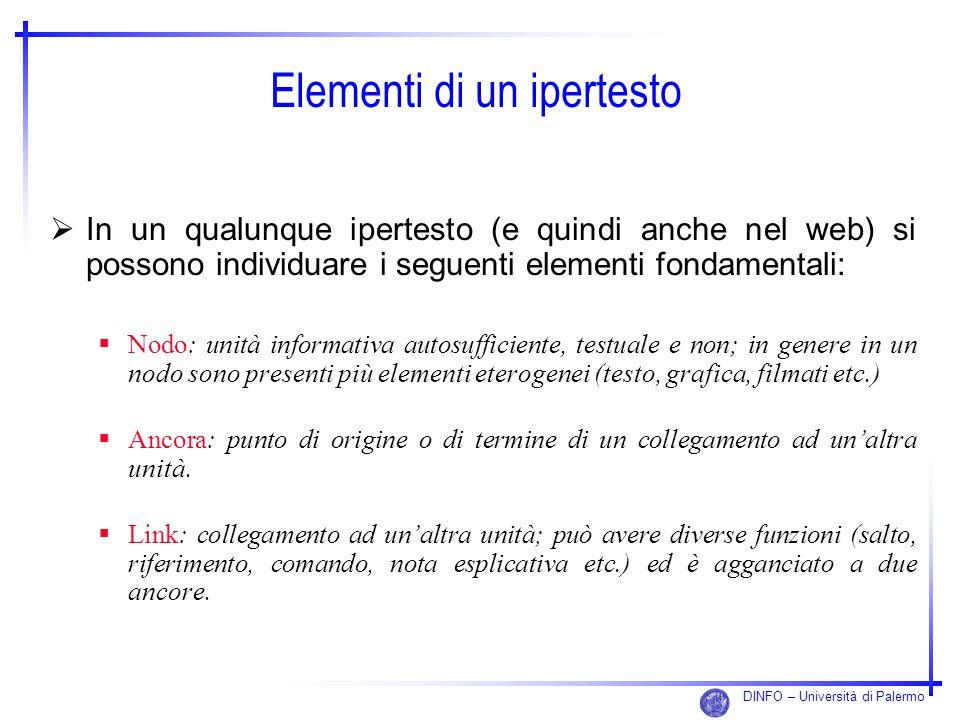 DINFO – Università di Palermo Elementi di un ipertesto In un qualunque ipertesto (e quindi anche nel web) si possono individuare i seguenti elementi f