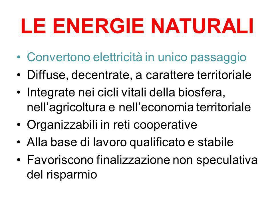 LE ENERGIE NATURALI Convertono elettricità in unico passaggio Diffuse, decentrate, a carattere territoriale Integrate nei cicli vitali della biosfera,