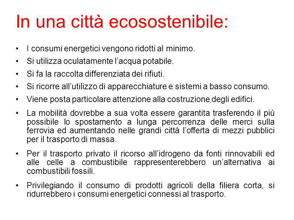 In una città ecosostenibile: I consumi energetici vengono ridotti al minimo. Si utilizza oculatamente lacqua potabile. Si fa la raccolta differenziata