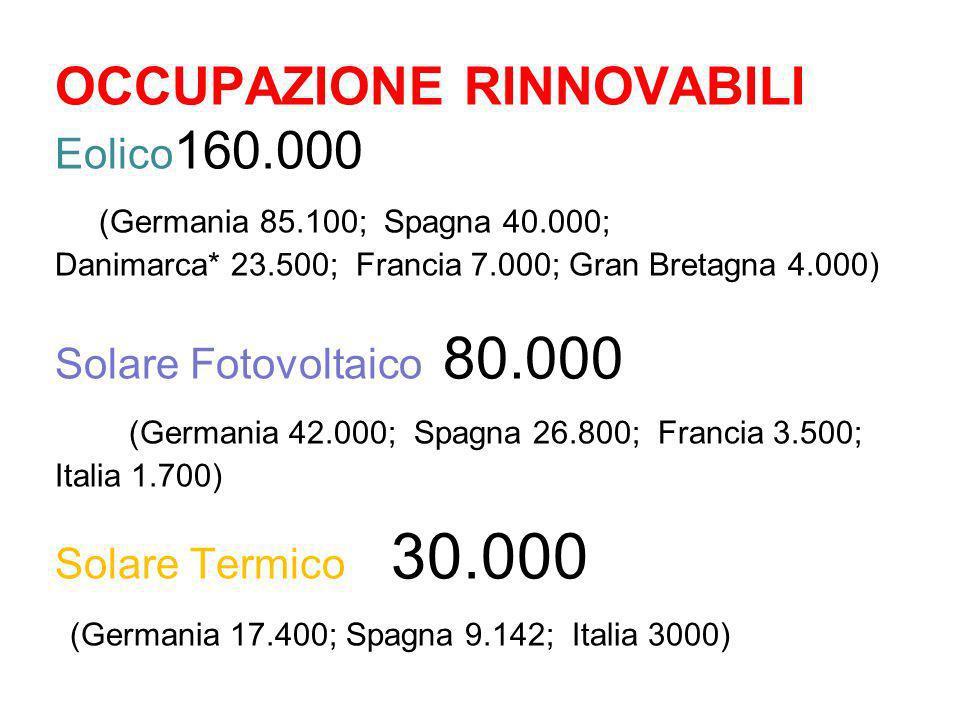 OCCUPAZIONE RINNOVABILI Eolico 160.000 (Germania 85.100; Spagna 40.000; Danimarca* 23.500; Francia 7.000; Gran Bretagna 4.000) Solare Fotovoltaico 80.
