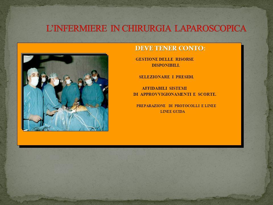 Infermiere NELLORGANIZZAZIONE E DISPOSIZIONE DELLE ATTREZZATURE DI SALA OPERATORIA NELLA CONOSCENZE DELLE TECNICHE LAPAROSCOPICHE GESTIONE DEL PAZIENT
