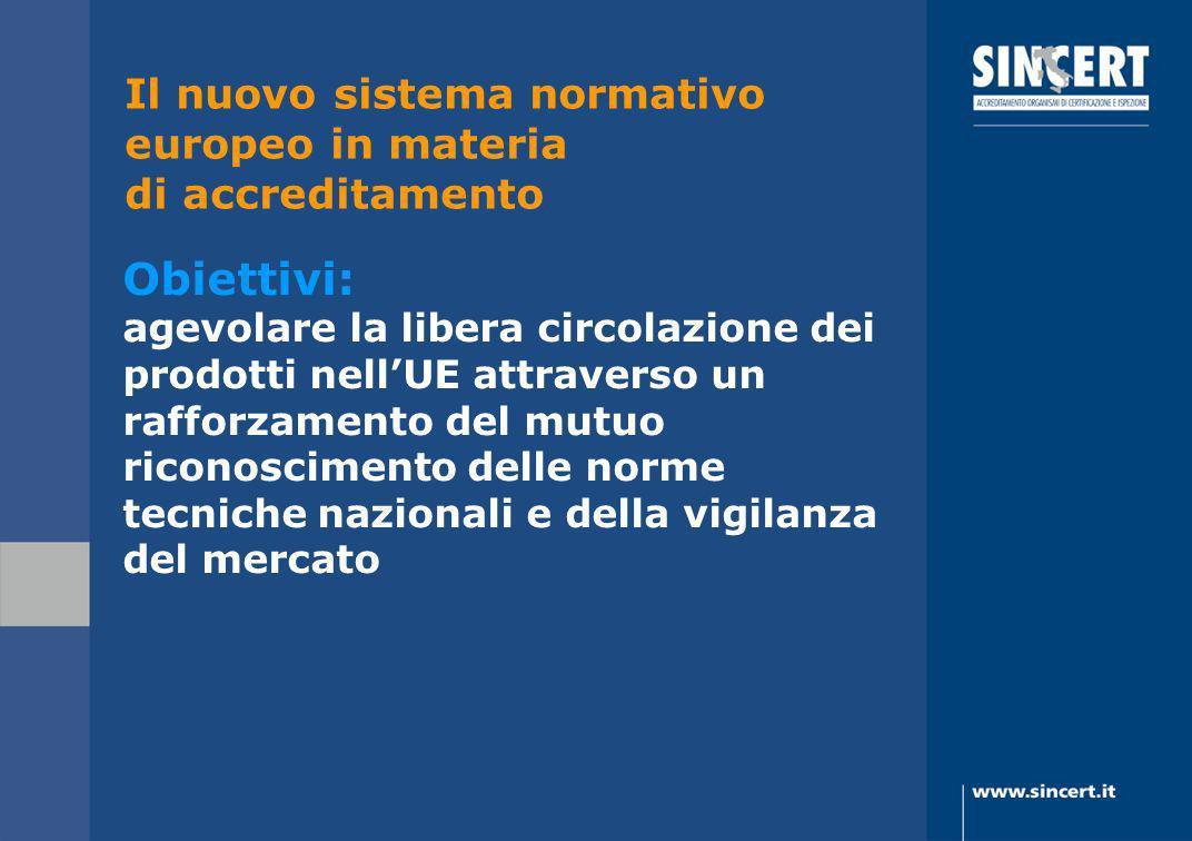Il nuovo sistema normativo europeo in materia di accreditamento Obiettivi: agevolare la libera circolazione dei prodotti nellUE attraverso un rafforza