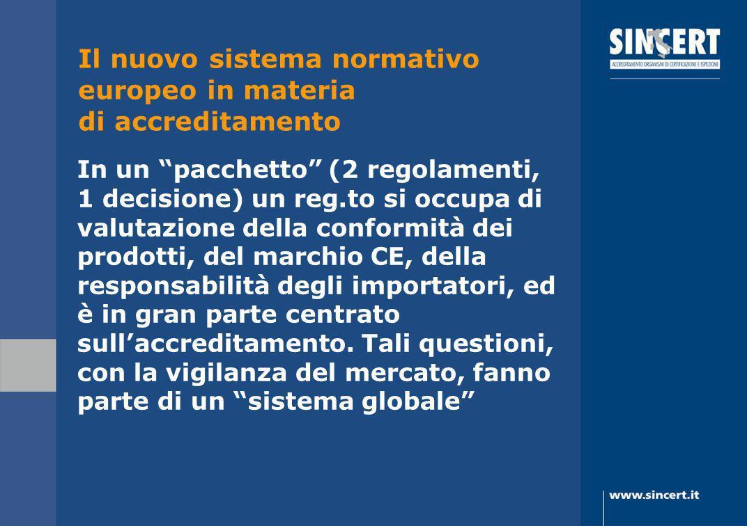 In un pacchetto (2 regolamenti, 1 decisione) un reg.to si occupa di valutazione della conformità dei prodotti, del marchio CE, della responsabilità de