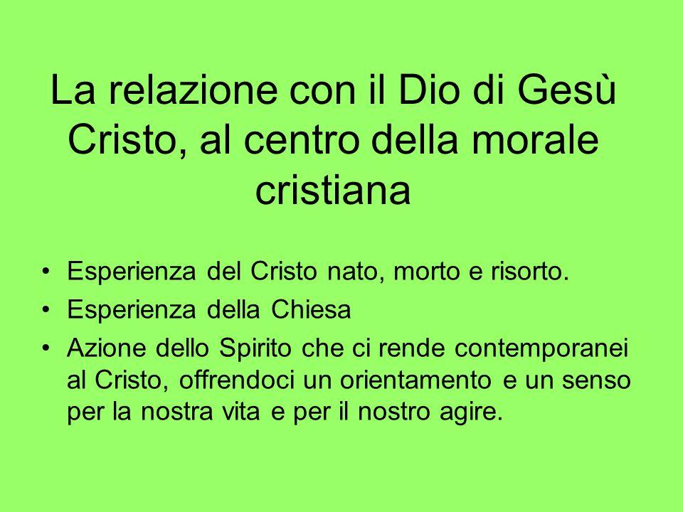 La relazione con il Dio di Gesù Cristo, al centro della morale cristiana Esperienza del Cristo nato, morto e risorto. Esperienza della Chiesa Azione d