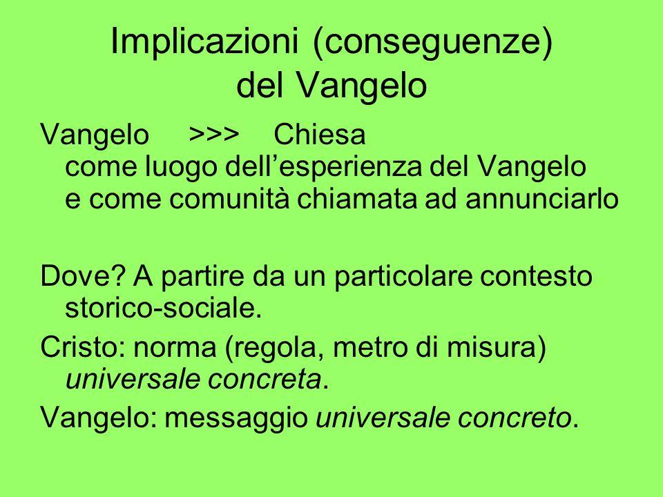 Implicazioni (conseguenze) del Vangelo Vangelo >>> Chiesa come luogo dellesperienza del Vangelo e come comunità chiamata ad annunciarlo Dove? A partir