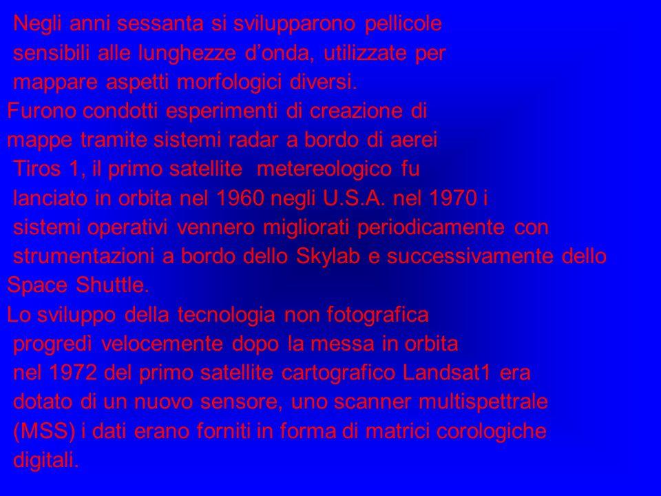 Negli anni sessanta si svilupparono pellicole sensibili alle lunghezze donda, utilizzate per mappare aspetti morfologici diversi. Furono condotti espe