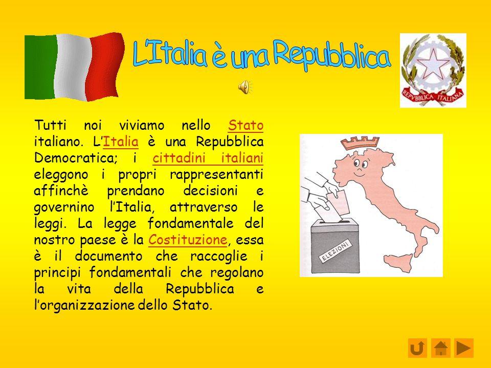 LItalia è una Repubblica Gli organi dello stato Il presidente della Repubblica Regioni ed enti locali La Costituzione Il Comune La nostra lista e il n