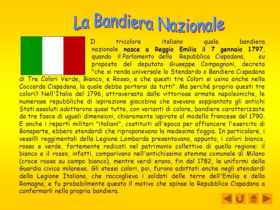 Il tricolore italiano quale bandiera nazionale nasce a Reggio Emilia il 7 gennaio 1797, quando il Parlamento della Repubblica Cispadana, su proposta del deputato Giuseppe Compagnoni, decreta che si renda universale lo Stendardo o Bandiera Cispadana di Tre Colori Verde, Bianco, e Rosso, e che questi tre Colori si usino anche nella Coccarda Cispadana, la quale debba portarsi da tutti .