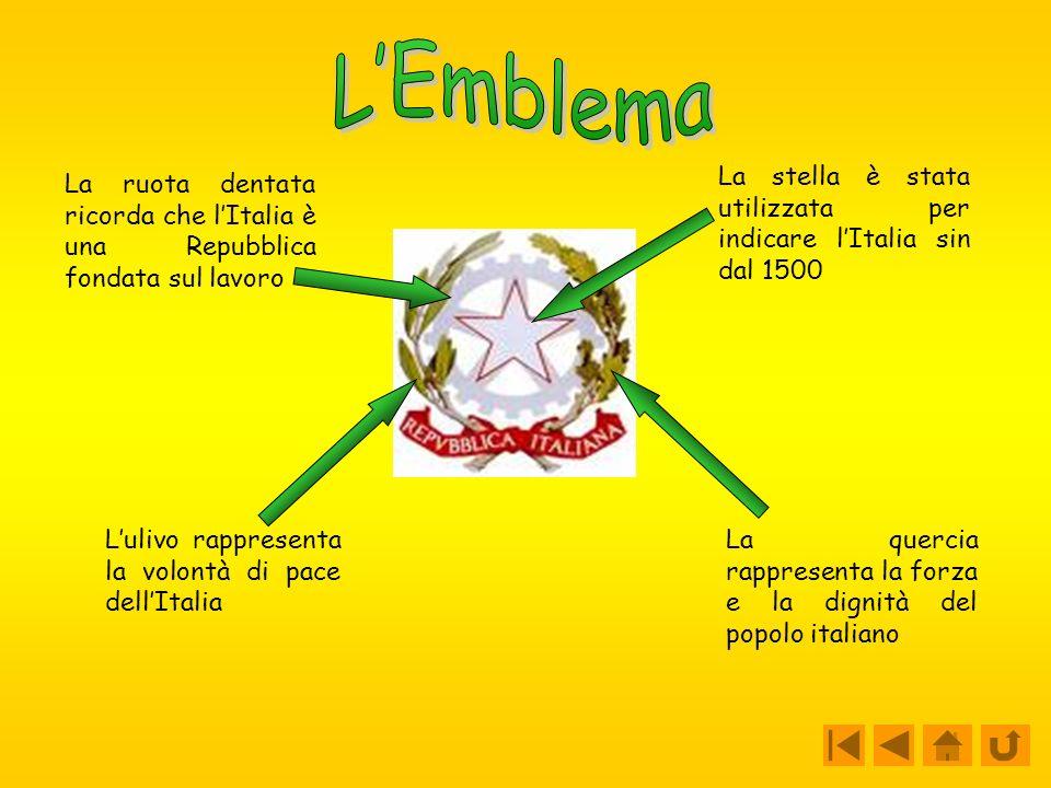 La ruota dentata ricorda che lItalia è una Repubblica fondata sul lavoro Lulivo rappresenta la volontà di pace dellItalia La stella è stata utilizzata per indicare lItalia sin dal 1500 La quercia rappresenta la forza e la dignità del popolo italiano