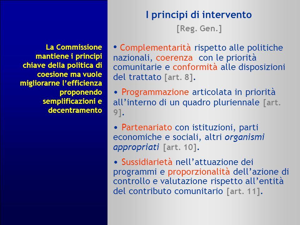 I principi di intervento [Reg. Gen.] Complementarità rispetto alle politiche nazionali, coerenza con le priorità comunitarie e conformità alle disposi