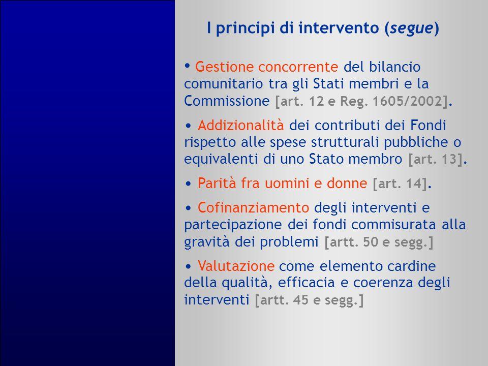 I principi di intervento (segue) Gestione concorrente del bilancio comunitario tra gli Stati membri e la Commissione [art. 12 e Reg. 1605/2002]. Addiz