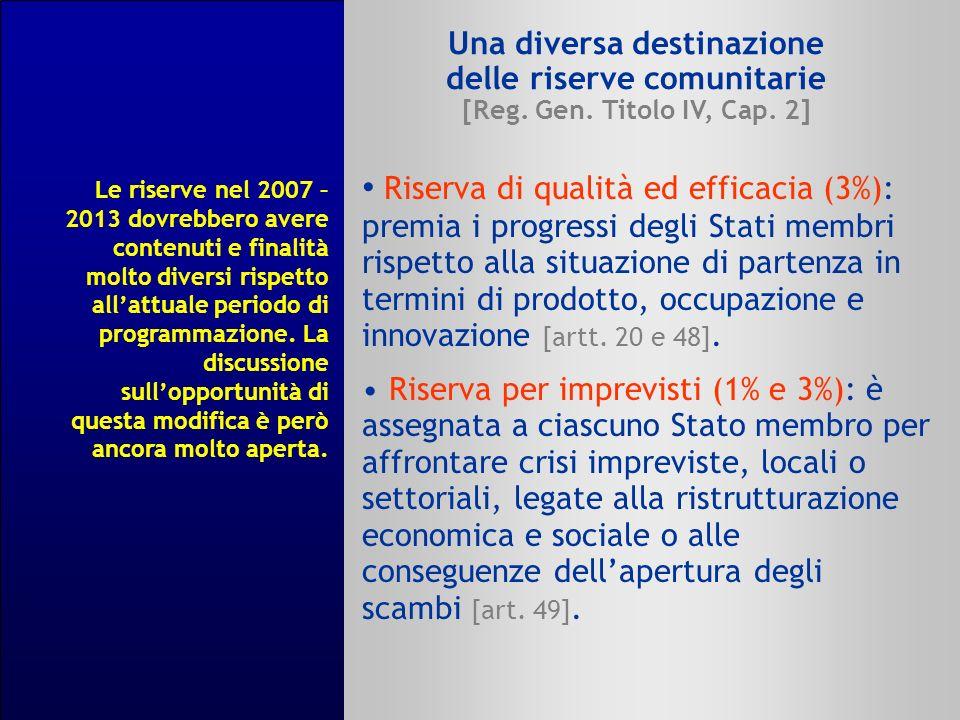 Una diversa destinazione delle riserve comunitarie [Reg. Gen. Titolo IV, Cap. 2] Riserva di qualità ed efficacia (3%): premia i progressi degli Stati