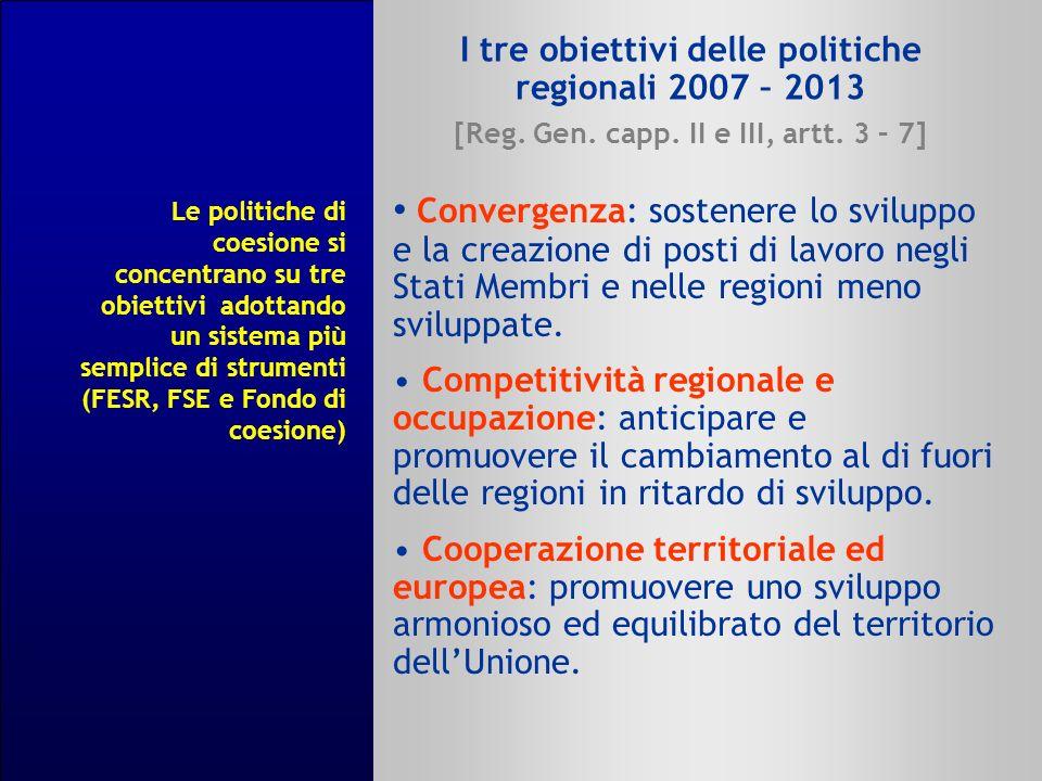 I tre obiettivi delle politiche regionali 2007 – 2013 [Reg. Gen. capp. II e III, artt. 3 – 7] Convergenza: sostenere lo sviluppo e la creazione di pos