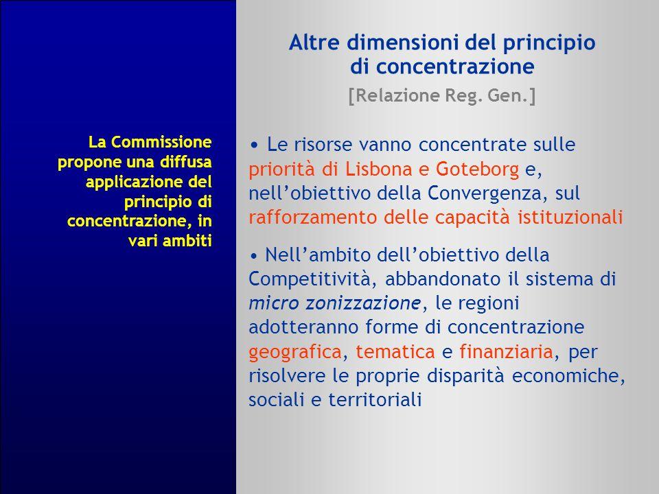 Altre dimensioni del principio di concentrazione [Relazione Reg. Gen.] Le risorse vanno concentrate sulle priorità di Lisbona e Goteborg e, nellobiett