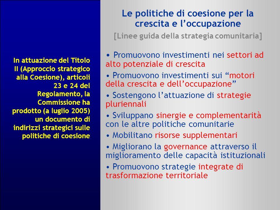 Le politiche di coesione per la crescita e loccupazione [Linee guida della strategia comunitaria] Promuovono investimenti nei settori ad alto potenzia